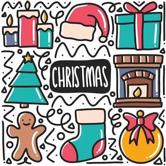 O natal desenhado à mão celebra o conjunto de doodle com ícones e elementos de design