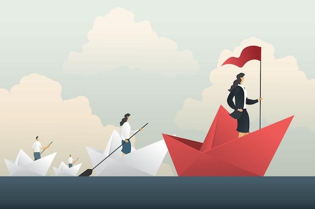 O navio da mulher de negócios líder conduz o comboio da equipe para o sucesso. ilustração em vetor