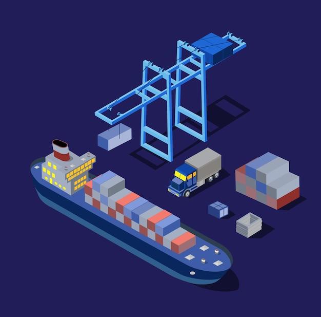 O navio, fábricas de barcos, armazéns, indústria, ilustração noturna