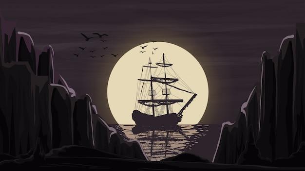 O navio fica no porto contra a lua indo além do horizonte.