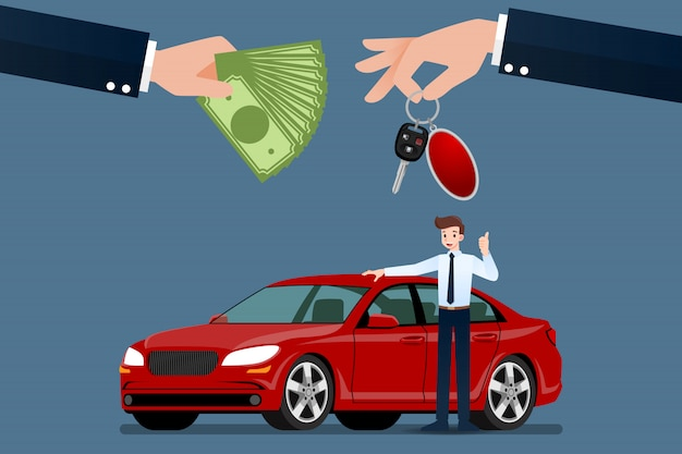 O negociante de carros vende um carro.