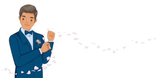 O noivo no smoking azul e no bowtie vermelho corrige seus botões.