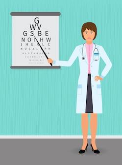 O oftalmologista aponta para a tabela de verificação da visão. médico de medicina.