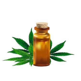 O óleo e o cannabis de cânhamo folheiam isolado no fundo branco. óleo de cannabis saudável