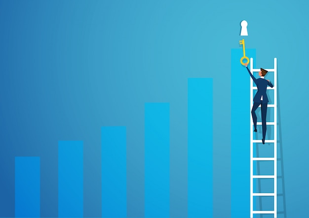 O olhar fixo do homem de negócio para toma o olhar fixo para fechar o conceito do crescimento do negócio do sucesso.