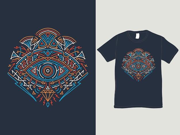 O olho do design da camisa horus monoline