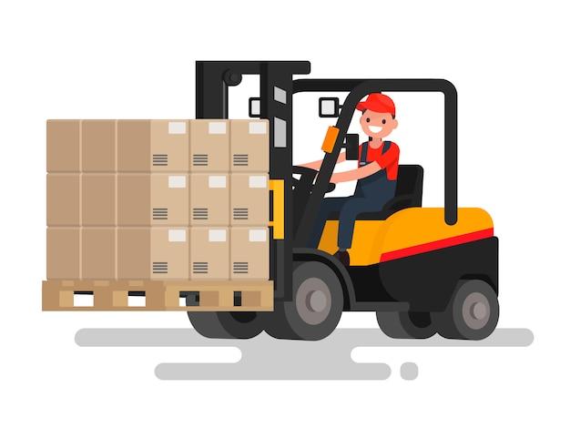 O operador controla o carregador frontal que transporta mercadorias. trabalhe no estoque. ilustração