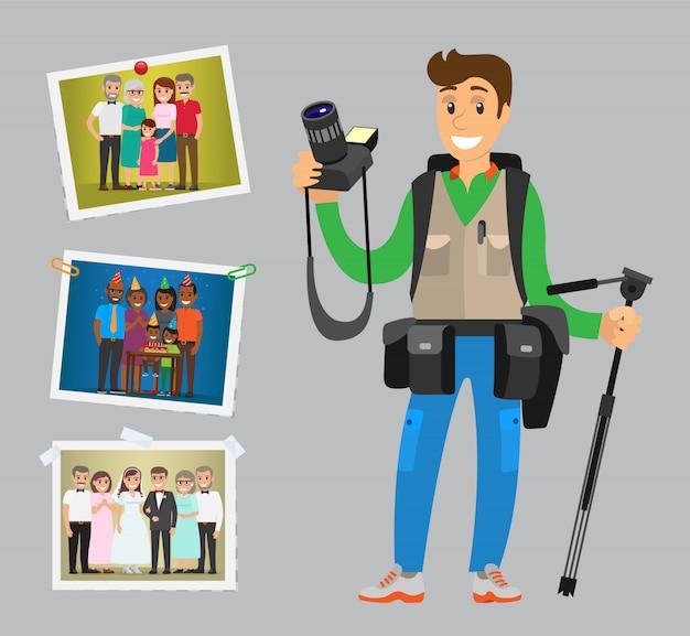 O operador de câmara aceita pedidos em casamentos, aniversários