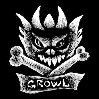 O osso do logotipo de vetor para tatuagem ou design de t-shirt ou outwear.