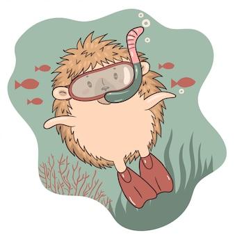 O ouriço nada debaixo d'água com óculos de natação e nadadeiras.
