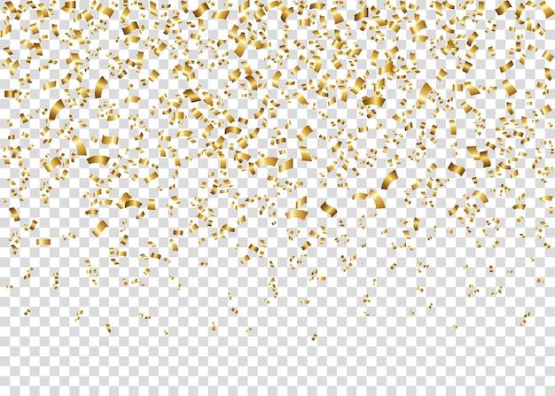 O ouropel festivo brilhante dourado isolado em transparente.