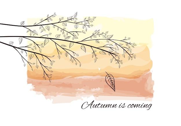 O outono está chegando, cartão com silhueta de galho de árvore em fundo aquarela