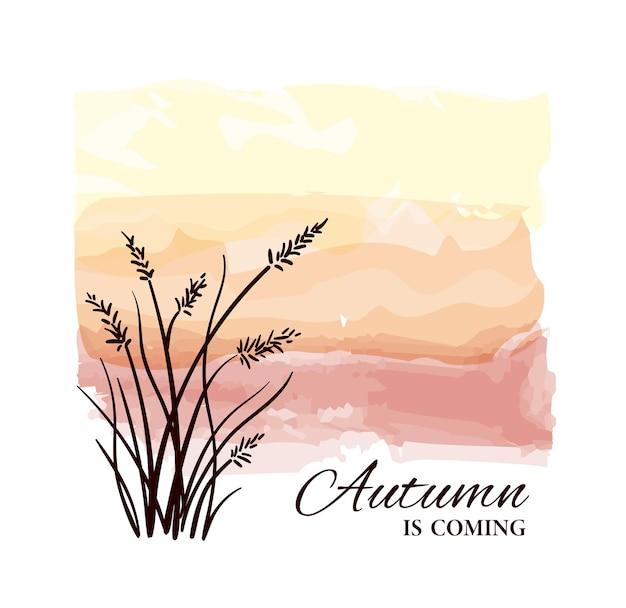O outono está chegando, cartão com silhueta de planta em fundo aquarela.