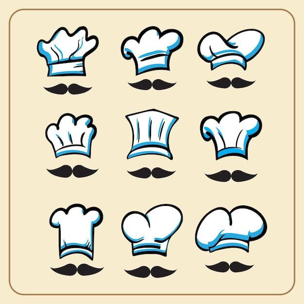 O pacote vetorial de chapéu de chef para alimentos ou conceito de cozinha