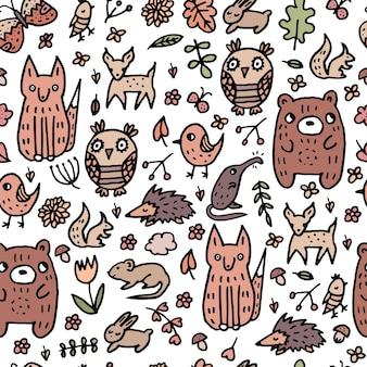 O padrão bonito de bebê de vetor linear, animais da floresta