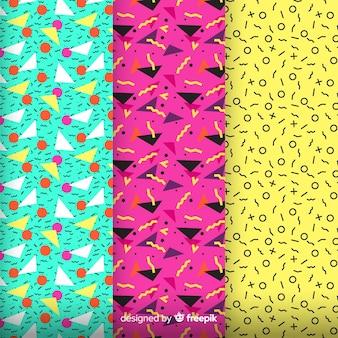 O padrão colorido de memphis monta