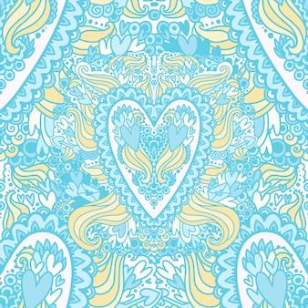 O padrão de corações de doodle com elementos diferentes
