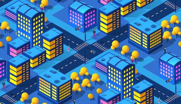 O padrão de fundo da cidade inteligente à noite 3d futuro estilo neon