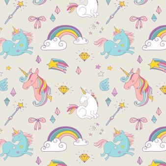 O padrão mágico desenhado à mão com unicórnio, arco-íris