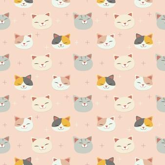 O padrão sem emenda da cabeça de gato bonito