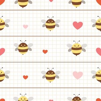 O padrão sem emenda de abelha com coração em estilo simples.