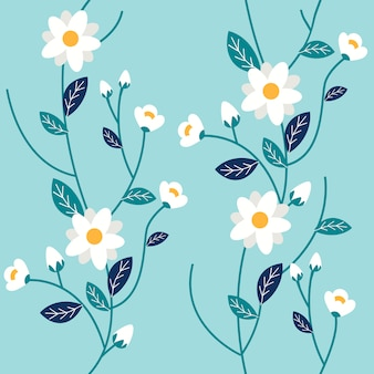 O padrão sem emenda de algumas flores brancas e folhas