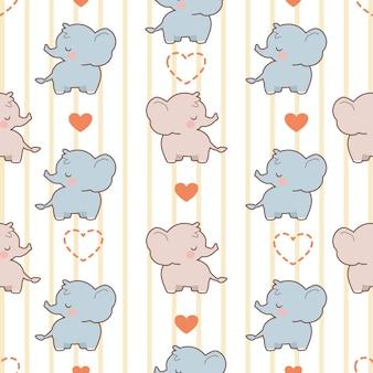 O padrão sem emenda de elefante fofo com corações Vetor Premium