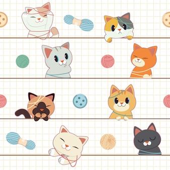 O padrão sem emenda de gato bonito e amigo brincar com yarnd, banner, cartão de felicitações.
