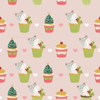 O padrão sem emenda de gato bonito e bolinho para festa natalícia ans com estilo vetor plana.