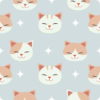 O padrão sem emenda de gato fofo e asa