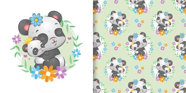 O padrão sem emenda dos dois pandas se abraçando no anel de flores da ilustração