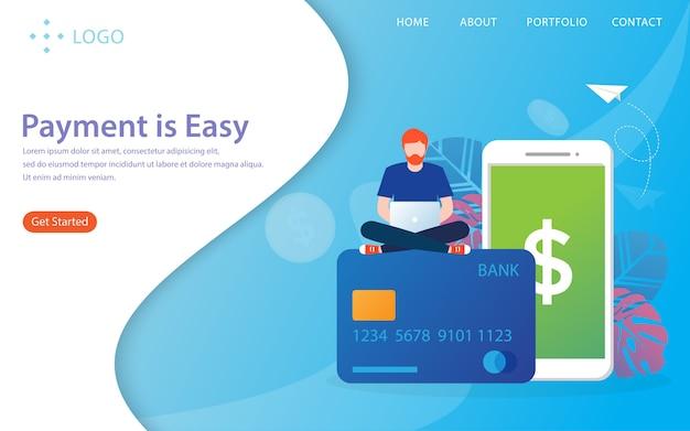 O pagamento é fácil, página de destino