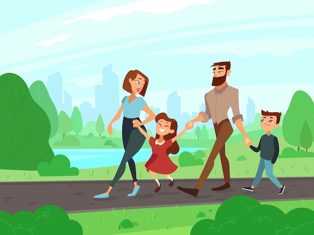 O pai, a mãe, o irmão e a irmã felizes dos desenhos animados no verão estacionam no fim de semana.