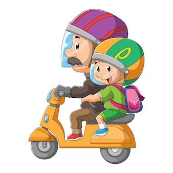 O pai acompanha o menino até a escola com a motocicleta de ilustração