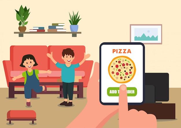 O pai ordena pizza para crianças