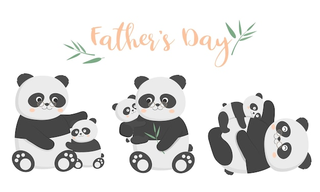 O pai panda está feliz com seu bebê no dia dos pais. eles se abraçaram e brincaram alegremente