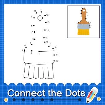 O paint brush kids conecta a planilha de pontos para crianças contando o número 1 a 20