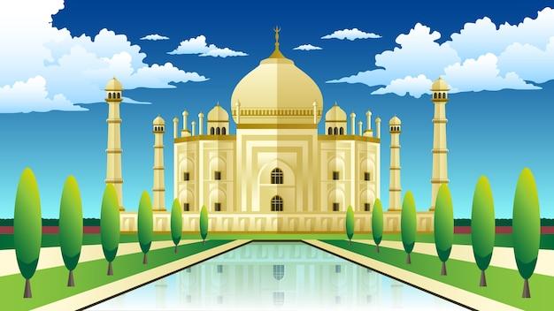 O palácio taj mahal com árvores e nuvens