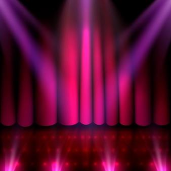 O palco do show e o show com muita iluminação. ilustração vetorial