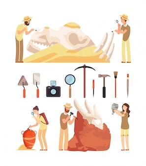 O paleontólogo descobre artefatos históricos. o arqueólogo trabalha com ferramentas arqueológicas.
