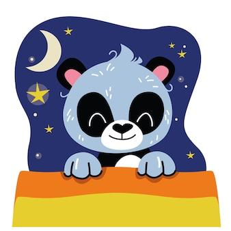 O panda fofo dorme embaixo das cobertas ilustração vetorial no estilo dos desenhos animados para crianças diversão isolada