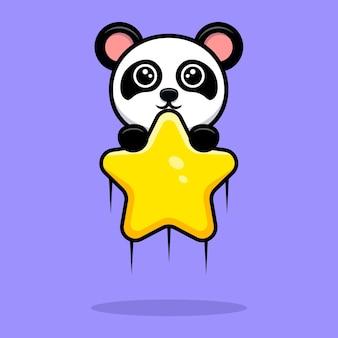 O panda fofo flutuando com o mascote do desenho animado