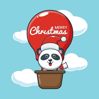 O panda fofo no dia de natal voa com um balão de ar ilustração fofa dos desenhos animados de natal