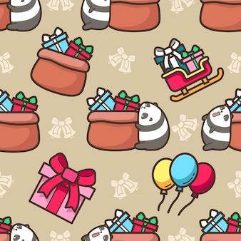 O panda sem costura adora o padrão do dia de natal