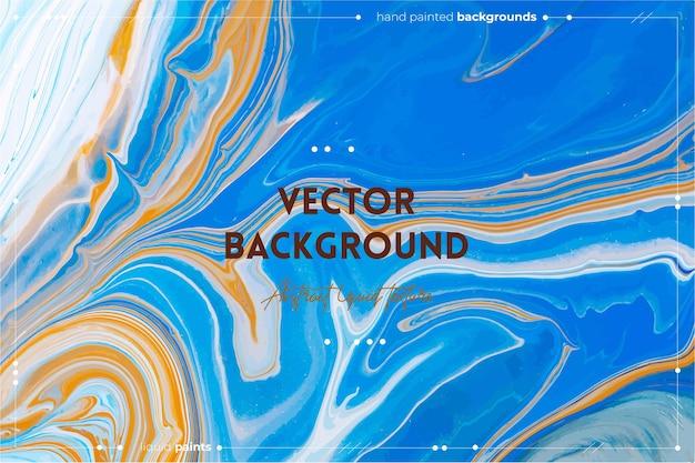 O pano de fundo abstrato de textura de arte fluida com efeito de tinta iridescente imagem de acrílico líquido com tintas artísticas misturadas pode ser usado para baner ou papel de parede laranja azul e cores transbordantes de azul marinho
