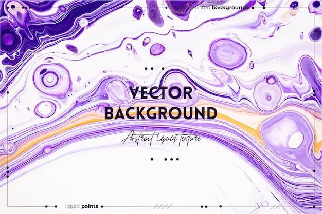 O pano de fundo de textura de arte fluida com efeito de tinta espiralada abstrata imagem acrílica líquida com tintas misturadas caóticas pode ser usada para pôsteres ou papéis de parede branco roxo e cores douradas transbordando