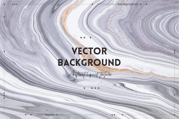 O pano de fundo de textura de arte fluida com efeito de tinta iridescente abstrato imagem acrílica líquida com belas tintas misturadas pode ser usada para o pôster interior preto branco e dourado transbordando cores