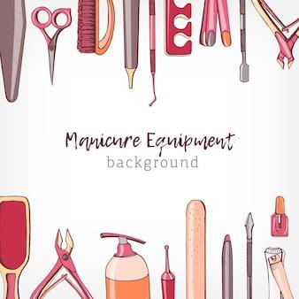 O pano de fundo quadrado decorado com borda consistia em equipamentos ou ferramentas de manicure e pedicure desenhados à mão sobre fundo branco e local para texto. ilustração colorida realista