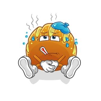 O pão está doente. personagem de desenho animado