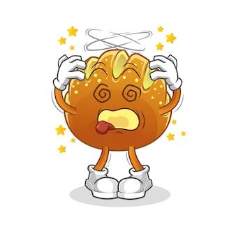 O pão mascote cabeça tonta. desenho animado